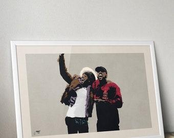 Kanye West and Kid Cudi Illustration Poster Art Print Yeezy