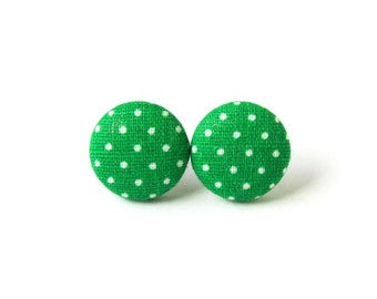 Small green earrings - light green polka dots button earrings - fabric stud earrings - pin up earrings - gift for her - minimalistic jewelry