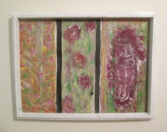 weeds and roses,24 x 32 drywall joint compound,acrylics,on drywall.heavy on texture and weight