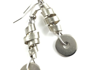 Dangle Earrings Twisted Metal Hardware Jewelry