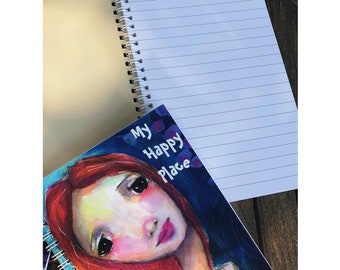 My Happy Place Wire bound Journal, Ruled Notebook,Kids notebook tarot journal girl's journal women's journal daily journal, everyday journal