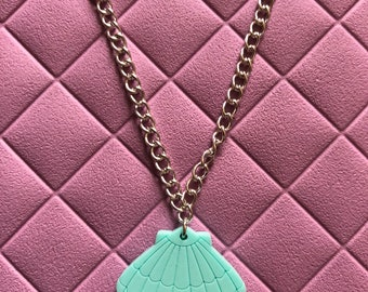 Mermaid mint Laser cut Clam Shell necklace