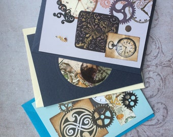 """Vintage style Steampunk cards """"time and space"""" set"""