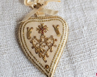 Antique Sacred Heart Ex Voto, Silk Embroidery Reliquiary Scapular