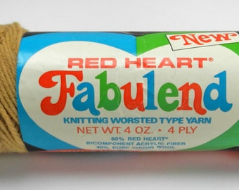Vintage Red Heart Fabulend 4 Ply Worsted Yarn - 1 Skein - Wool/Acrylic - Camel