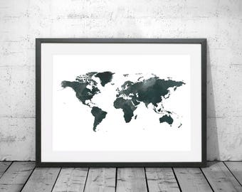 Australia map watercolour print watercolor map art australia world map watercolour print watercolor map art world map poster world map print world map travel poster watercolor map gumiabroncs Image collections