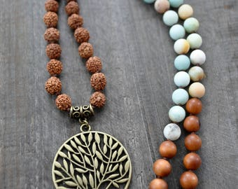Collier mala - 108 perles - Arbre de vie - Bijou de yoga - Chapelet - Bois de santal - Rudraksha - Coco Matcha