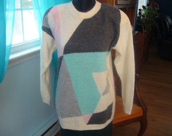 Vintage 1980's, Wool Blend, Geometric Design, Oversized Sweater