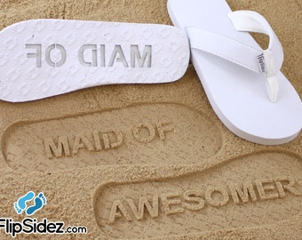 Custom Bridesmaid Flip Flops - Personalized Maid of Honor Sand Imprint for Wedding & Bridal Party *check size chart, see 3rd product photo*