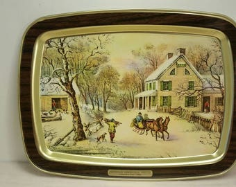"""CURRIER AND IVES Metal Serving Tray """"American Homestead Winter 1868"""" Horse Drawn Sleigh Wintertime Scene Colonial"""