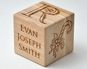 Personalized Baby First Christmas Holidays Gift Wooden Block Custom Engraved Newborn First Christmas Baby Block  Cool Keepsake Gift +