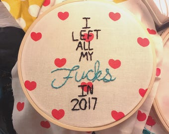 No f*cks left for 2018 embroidery 4in