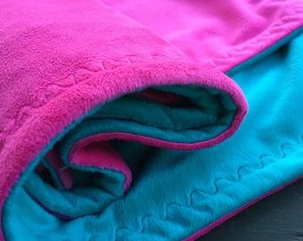 Aqua-Hot Pink Minky Baby Blanket