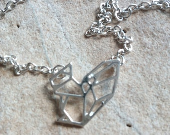 718 - silver-plated origami squirrel necklace
