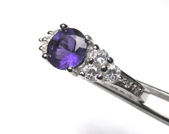 Genuine African Amethyst in a Brilliant Accented Sterling Silver Setting