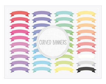 Curved Ribbon Banners Clip Art - Digital Graphics for Web and Blog Design, Scrapbook, Cards, Invitations, Crafts...