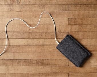 Simple iPhone Case - Charcoal Felt for iPhone X, iPhone 8, 8 Plus and iPhone SE - Made in the USA of 100% wool felt