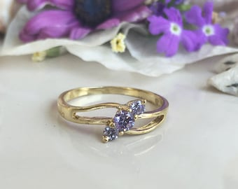 20% off-SALE!! Alexandrite Ring - Lavender Ring - June Birthstone - Gold Ring - Dainty Ring - Tiny Ring - Slim Band - Simple Ring