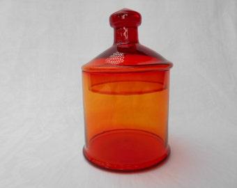 Vintage Handmade Deep Orange Glass Sweet or Lolly Jar Made in Japan 1960's  #10282