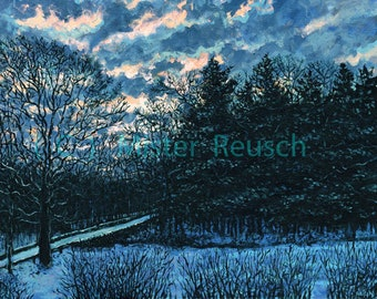 Winter Sunrise Over Poet's Bridge at Whittier Birthplace Signed Print by Mark Reusch