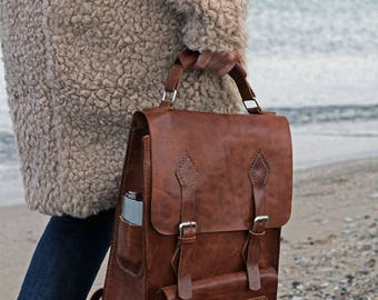 Vegetable Tanned Leather Backpack shouler bag laptop briefcase iPad Messenger for men and women - by kinikgoods