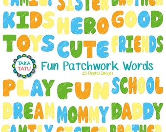 Fun Patchwork Words Clipart - Kids Clipart / Stitched Words Clipart / Positive Words / Kids Clipart / Kids Typography / Blanket Stitch Words