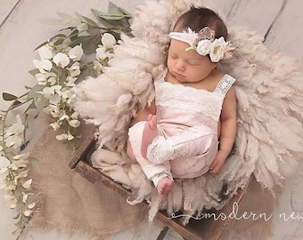 "Lace Newborn Romper photo prop with matching headband ""the ellie romper"""