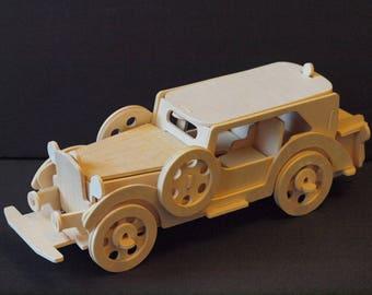 VINTAGE CAR FORD V8- 3D Wooden Model Puzzle - Construction kit