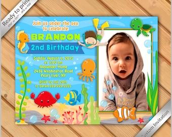 50% OFF SALE - Under the Sea Printable Birthday photo invitation, invitation party under the sea for boy