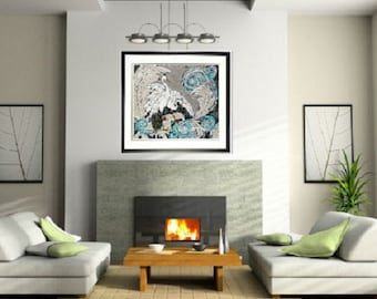 Bird print art, Modern bird art, white birds, Egrets, Pittsburgh artist, by Johno Prascak, Johnos Art Studio