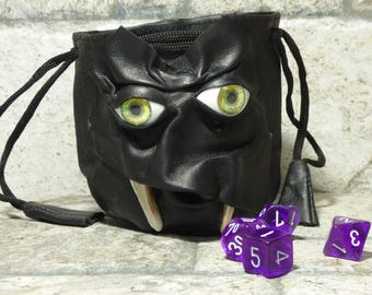 Dice Bag Marble Bag Fairy Pouch With Monster Face RPG Drawstring Bag Rune Bag Magic The Gathering Gamer Gift Black Leather 39