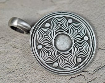 pewter pendant, lead free, 30mm + 10mm bail, #288
