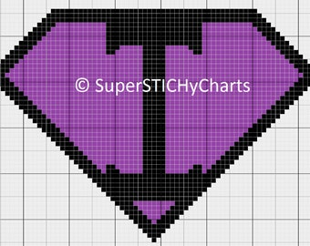 Super I Symbol Cross Stitch Pattern Chart: Superhero, Superman, Super Hero, Supergirl