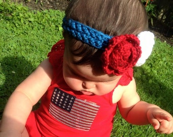 Crochet Baby Headband Photo Prop made from Cotton You choose size and colors.