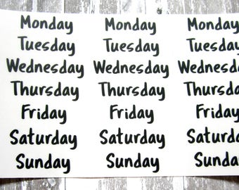 Days of the Week Bullet Journal Stickers, Clear Stickers, Transparent Stickers