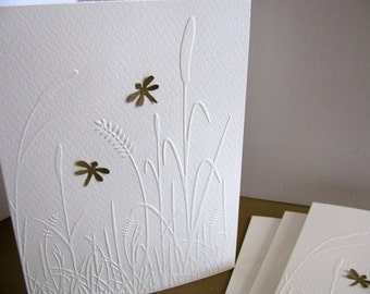SET of 4. Embossed Grasses 3D Mini Kraft Dragonflies or Mini Butterflies. Luxury Ivory Watercolour Paper
