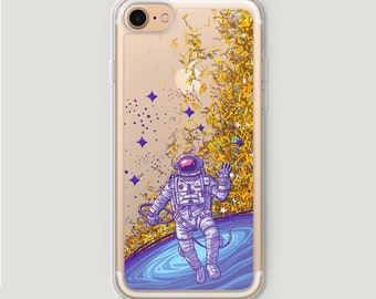 Glitter Cosmonaut iPhone SE Case, Space iPhone 6S Plus Case, Galaxy S7 Case, Cosmic Case for iPhone, iPhone 7 Liquid Glitter Case Sparkly