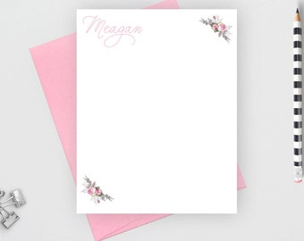 Personalized stationery set, Custom stationery,  personalized stationary set,  personalized note card set, flower card, calligraphy