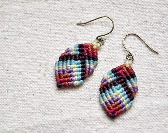 Mini Buddha Earrings in purple and aqua