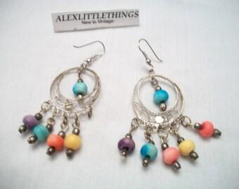 Vintage Chandelier Gypsy Earrings Colorful Boho Retro Costume Jewelry