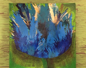 "ABSTRACT BLUE TULIP Original Acrylic Painting - 6"" X 6"" x 1.5"""