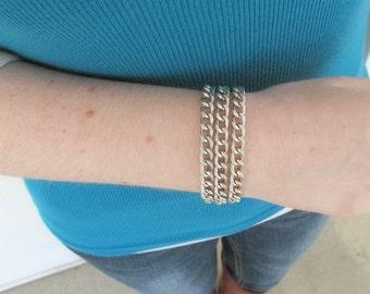 Silver Chunky Chain Bracelet - Silver Chain Layered Statement Bracelet - Kalitka