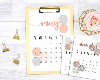2017 - 2018 (18 month) printable calendar, rose gold, gold foil, marble
