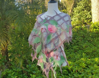 Nuno Felted Wrap in Heather, Pink and Lavender.  Cashmere Soft Felted Scarf . Wearable Fiber Art Scarf. Silk and Wool Lightweight  Boho Wrap
