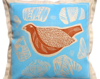 linocut, orange bird, turquoise blue, cushion cover, decorative pillow, bird print, printmaking, handmade cushion, linen fabric, bird art,
