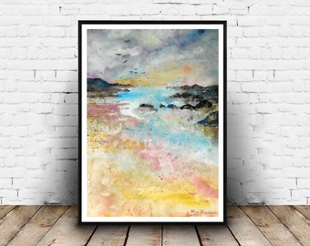 Landscape, watercolours painting, seaside