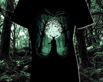 HERNE the Hunter T-Shirt Robin Hood Sherwood Celtic Horned God Cernunnos Heathen Forest Pagan Fashion Tshirt Antler Guardian Mythology