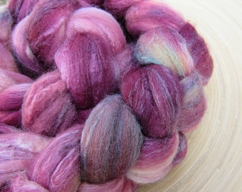 Hand dyed merino silk blend combed Top Roving for spinning and felting - 100 grams