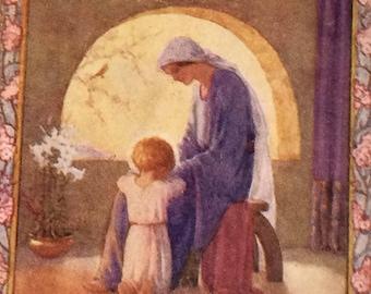 1940's-Vintage-Margaret Tarrant-Colour Plate-Illustration-Bible-Bible Story-Lords Prayer-Nursery-Home Decor