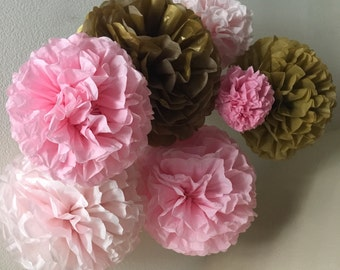 Paper Pom Poms -Set of 10- Your Color Choice -  Pink and Gold Decorations - Ballerina Party - Ballet Theme - girl first birthday party decor